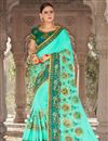 image of Embroidery Work On Georgette And Art Silk Cyan Occasional Wear Saree