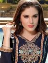 photo of Navy Blue Color Party Wear Designer Cotton Patiala Salwar Kameez