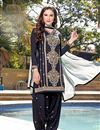 image of Cotton Fabric Patiala Style Salwar Suit in Navy Blue Color