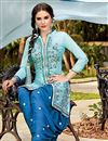 photo of Aqua Color Party Wear Designer Cotton Patiala Salwar Kameez