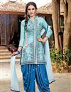 image of Aqua Color Party Wear Designer Cotton Patiala Salwar Kameez