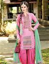image of Patiala Style Party Wear Cotton Salwar Suit in Pink Color
