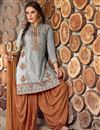 image of Grey Color Party Wear Patiala Style Cotton Salwar Kameez