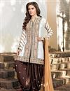 image of Cotton Fabric Patiala Style Salwar Suit in Off White Color