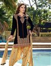 image of Party Wear Cotton Patiala Salwar Kameez in Black Color