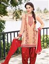 image of Party Wear Cotton Patiala Salwar Kameez in Cream Color
