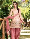 image of Patiala Style Party Wear Cotton Salwar Suit in Peach Color