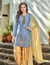 image of Patiala Style Party Wear Cotton Salwar Suit in Blue Color