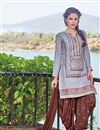 image of Designer Party Wear Grey Color Cotton Patiala Salwar Suit