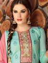 photo of Designer Party Wear Sky Blue Color Cotton Patiala Salwar Suit