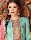 photo of Designer Party Wear Sky Blue Color Cotton Patiala Salwar Suit