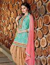 image of Designer Party Wear Sky Blue Color Cotton Patiala Salwar Suit