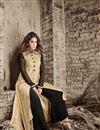 photo of Art Silk Designer Salwar Suit With Front Slit In Beige