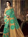image of Ready To Ship Impressive Cyan Color Party Wear Art Silk Saree