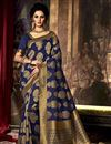 image of Dazzling Art Silk Fabric Weaving Party Saree In Blue Color