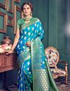 image of Kanchivaram Style Silk Saree In Sky Blue Color With Attractive Weaving Designs