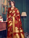 image of Maroon Color Designer Kanchivaram Style Silk Saree With Unstitched Blouse