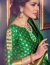 photo of Kanchivaram Style Designer Green Color Party Wear Silk Saree With Unstitched Blouse