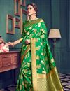 image of Kanchivaram Style Designer Green Color Party Wear Silk Saree With Unstitched Blouse