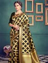 image of Ready To Ship Kanchivaram Style Designer Black Color Party Wear Silk Saree With Unstitched Blouse