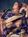 photo of Designer Blue Color Kanchivaram Style Silk Saree With Beautiful Weaving Work
