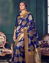 image of Designer Blue Color Kanchivaram Style Silk Saree With Beautiful Weaving Work
