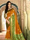 image of Alluring Mustard Color Designer Silk Party Wear Saree With Weaving Work