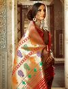 photo of Alluring Red Color Designer Silk Party Wear Saree With Weaving Work