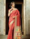 image of Alluring Red Color Designer Silk Party Wear Saree With Weaving Work