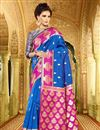 image of Designer Weaving Work Silk Party Wear Saree In Blue Color