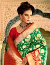 photo of Weaving Work Designed Green Color Silk Party Wear Saree