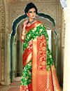 image of Weaving Work Designed Green Color Silk Party Wear Saree