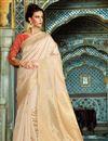 image of Festive Wear Designer Cream Color Silk Weaving Work Saree