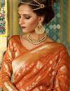 photo of Alluring Orange Color Designer Silk Party Wear Saree With Weaving Work