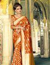 image of Alluring Orange Color Designer Silk Party Wear Saree With Weaving Work