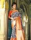 image of Weaving Work Designed Blue Color Silk Party Wear Saree