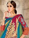photo of Embroidered Designer Satin And Chiffon Saree In Green And Blue Color