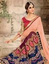 photo of Charming Peach And Blue Color Embroidered Saree In Georgette Fabric