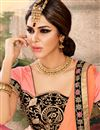 photo of Charming Peach And Pink Color Embroidered Saree In Georgette Fabric