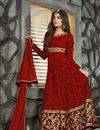 photo of Marvelous Red Color Embroidered Designer Georgette Fabric Anarkali Salwar Suit