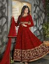 image of Marvelous Red Color Embroidered Designer Georgette Fabric Anarkali Salwar Suit