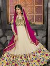 photo of Art Silk And Net Fabric Party Wear Cream Color Designer Anarkali Salwar Kameez With Embroidery