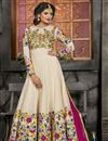 image of Art Silk And Net Fabric Party Wear Cream Color Designer Anarkali Salwar Kameez With Embroidery
