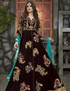 image of Marvelous Brown Color Embroidered Designer Georgette Fabric Salwar Suit