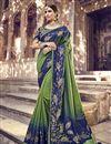 image of Function Wear Banarasi Silk Designer Weaving Work Saree With Heavy Blouse In Green