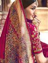 photo of Banarasi Silk Function Wear Designer Weaving Work Dark Pink Color Saree With Heavy Blouse