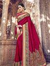 image of Banarasi Silk Function Wear Designer Weaving Work Dark Pink Color Saree With Heavy Blouse