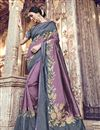 image of Function Wear Banarasi Silk Designer Laveder Color Weaving Work Saree With Heavy Blouse