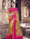 image of Function Wear Banarasi Silk Golden Color Designer Weaving Work Saree With Heavy Blouse