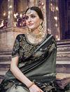 photo of Function Wear Grey Designer Weaving Work Saree With Heavy Blouse In Banarasi Silk